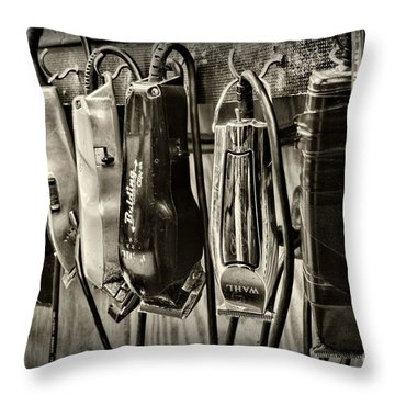 Barbershop Clippers In Black And White Throw Pillow