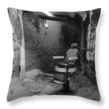 Prison Barbershop In Bw Throw Pillow