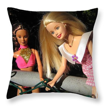 Throw Pillow featuring the photograph Barbie Escapes by Nina Silver