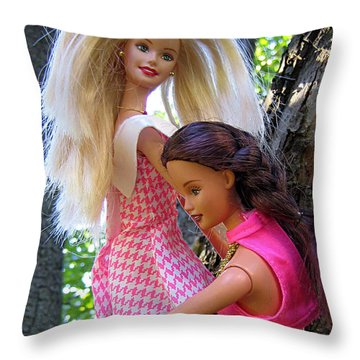 Throw Pillow featuring the photograph Barbie's Climbing Trees by Nina Silver