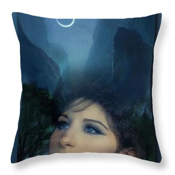 Barbra's Smiling Moon Throw Pillow