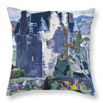 Barcaldine Castle Throw Pillow by Francis Campbell Boileau Cadell