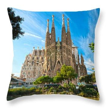 Barcelona - La Sagrada Familia Throw Pillow by Luciano Mortula