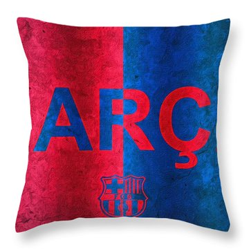 Barcelona Football Club Poster Throw Pillow