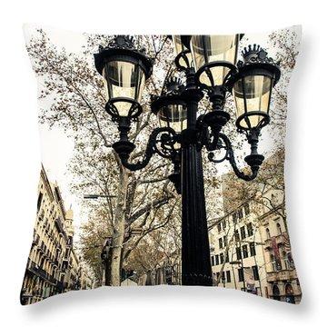 Barcelona - La Rambla Throw Pillow