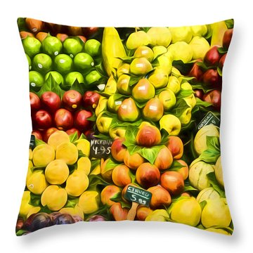 Throw Pillow featuring the photograph Barcelona Market Fruit by Steven Sparks