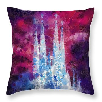 Barcelona Night Throw Pillow by Mo T
