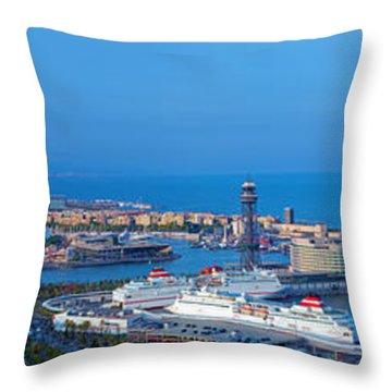 Barcelona Panorama Throw Pillow by Michal Bednarek