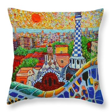 Barcelona Sunrise - Guell Park - Gaudi Tower Throw Pillow