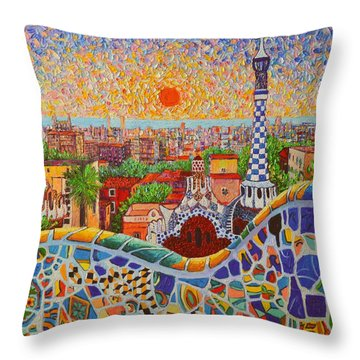 Barcelona Sunrise Light - View From Park Guell Of Gaudi - Square Format Throw Pillow