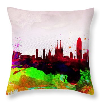 Barcelona Watercolor Skyline Throw Pillow by Naxart Studio