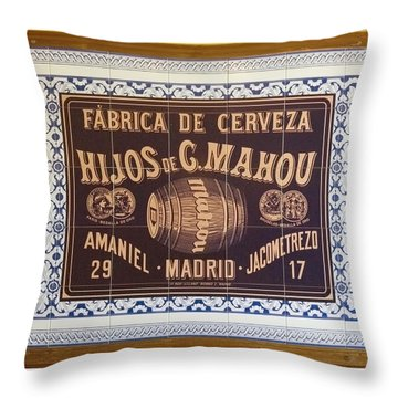 Throw Pillow featuring the photograph Barcelona Tiled Beer Sign by Michael Flood