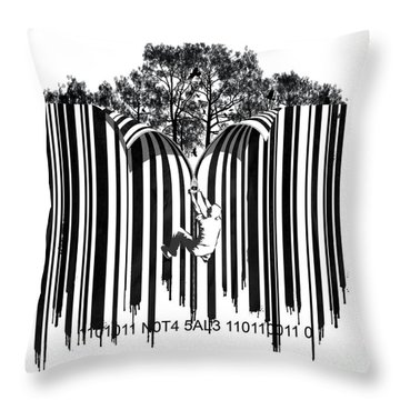 Barcode Graffiti Poster Print Unzip The Code Throw Pillow