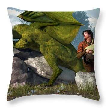 Bard And Dragon Throw Pillow by Daniel Eskridge