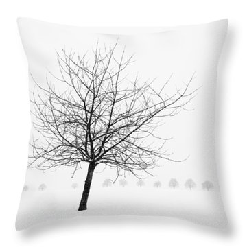Bare Tree In Winter - Wonderful Black And White Snow Scenery Throw Pillow