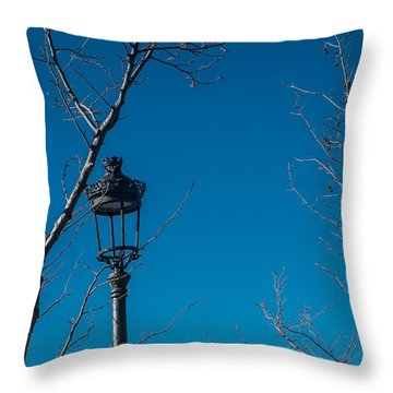 Bare Trees Blue Sky Throw Pillow