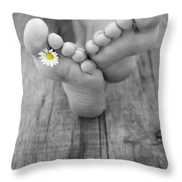 Barefoot Throw Pillow by Aged Pixel