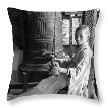 Throw Pillow featuring the photograph Barefoot Buddhist Monk by Tina Manley