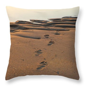 Throw Pillow featuring the photograph Barefoot In Sand by Robert Banach