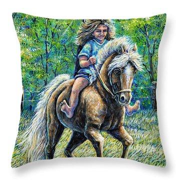 Barefoot Rider Throw Pillow