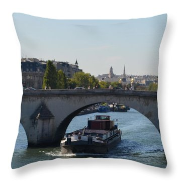Barge On River Seine Throw Pillow by Cheryl Miller