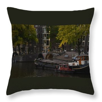 barges in Amsterdam Throw Pillow