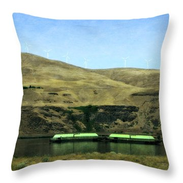 Barges On The Columbia Throw Pillow
