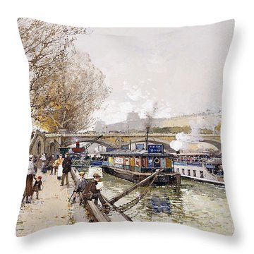 Barges On The Seine Throw Pillow by Eugene Galien-Laloue