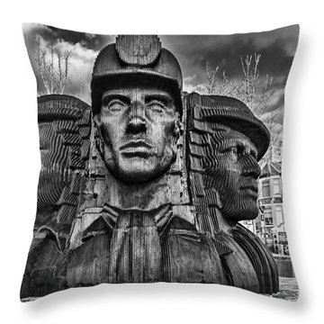 Bargoed Miners 2 Mono Throw Pillow by Steve Purnell