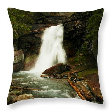 Baring Falls Glacier National Park Montana Throw Pillow by Jeff Swan
