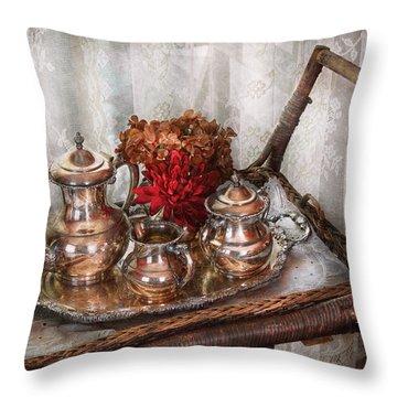 Barista - Tea Set - Morning Tea  Throw Pillow by Mike Savad