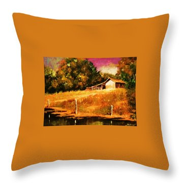 Barn Above The Creekbed Throw Pillow by Al Brown