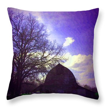 Barn And Oak Digital Painting Throw Pillow by Joyce Dickens