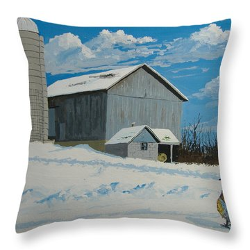 Barn And Pheasant Throw Pillow by Norm Starks