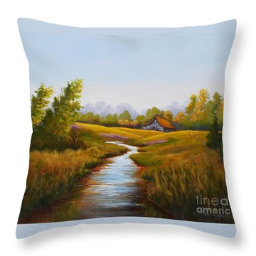 Barn And Stream Throw Pillow