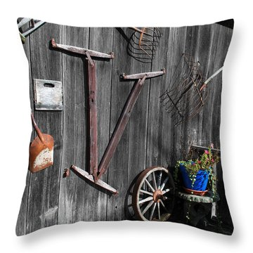 Barn Art No.3 - Color On Black And White Throw Pillow by Janice Adomeit