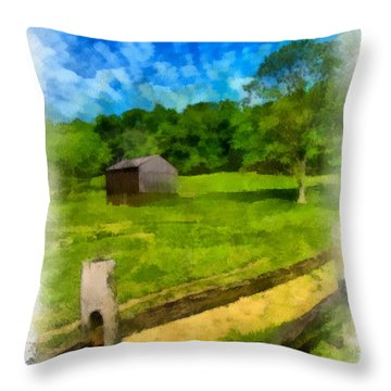 Barn At Hartwood Acres Throw Pillow by Amy Cicconi