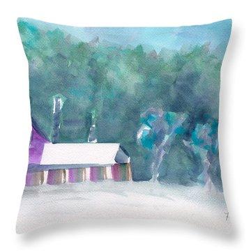 Barn At Lake Saranac Throw Pillow by Frank Bright