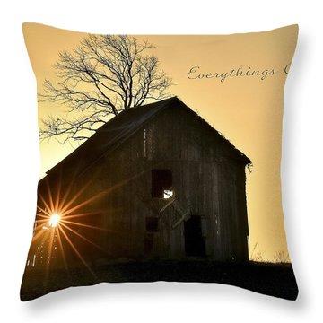 Barn At Sunrise Throw Pillow