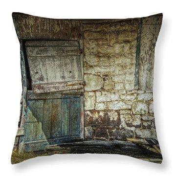 Barn Door Throw Pillow by Joan Carroll
