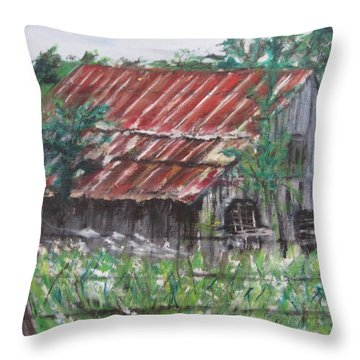 Barn In Montana Throw Pillow