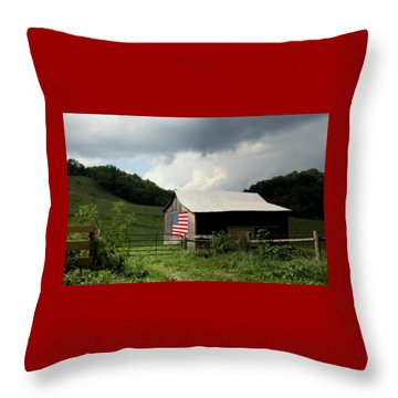 Barn In The Usa Throw Pillow by Karen Wiles
