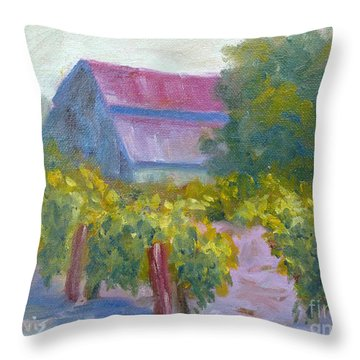 Barn In Vineyard Throw Pillow