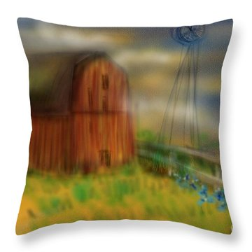Throw Pillow featuring the painting Barn by Marisela Mungia