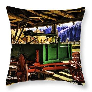 Throw Pillow featuring the painting Barn by Muhie Kanawati
