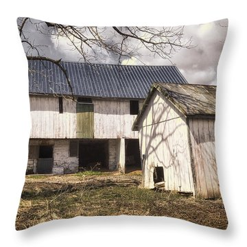 Barn Near Utica Mills Covered Bridge Throw Pillow by Joan Carroll