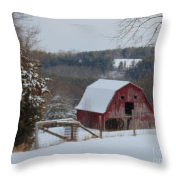 Barn Of Hillsville Throw Pillow by Charlotte Gray