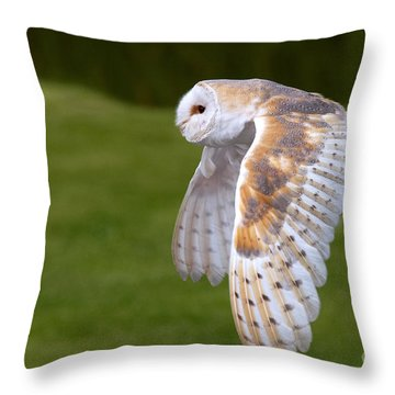 Throw Pillow featuring the photograph Barn Owl In Flight by Nick  Biemans