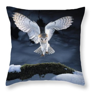 Barn Owl Landing Throw Pillow