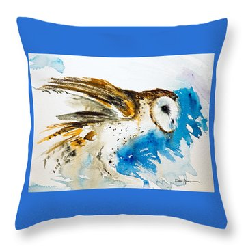 Da145 Barn Owl Ruffled Daniel Adams Throw Pillow